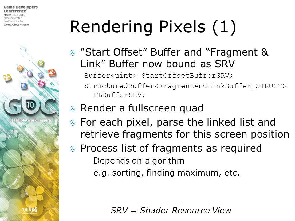 Rendering Pixels (1) Start Offset Buffer and Fragment & Link Buffer now bound as SRV Buffer StartOffsetBufferSRV; StructuredBuffer FLBufferSRV; Render