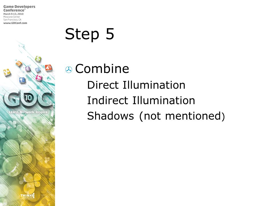 Step 5 Combine Direct Illumination Indirect Illumination Shadows (not mentioned )
