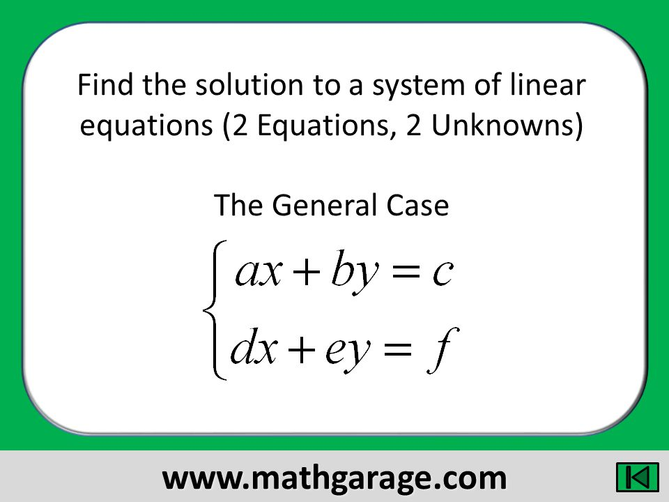 Find the solution to a system of linear equations (2 Equations, 2 Unknowns) The General Case www.mathgarage.com