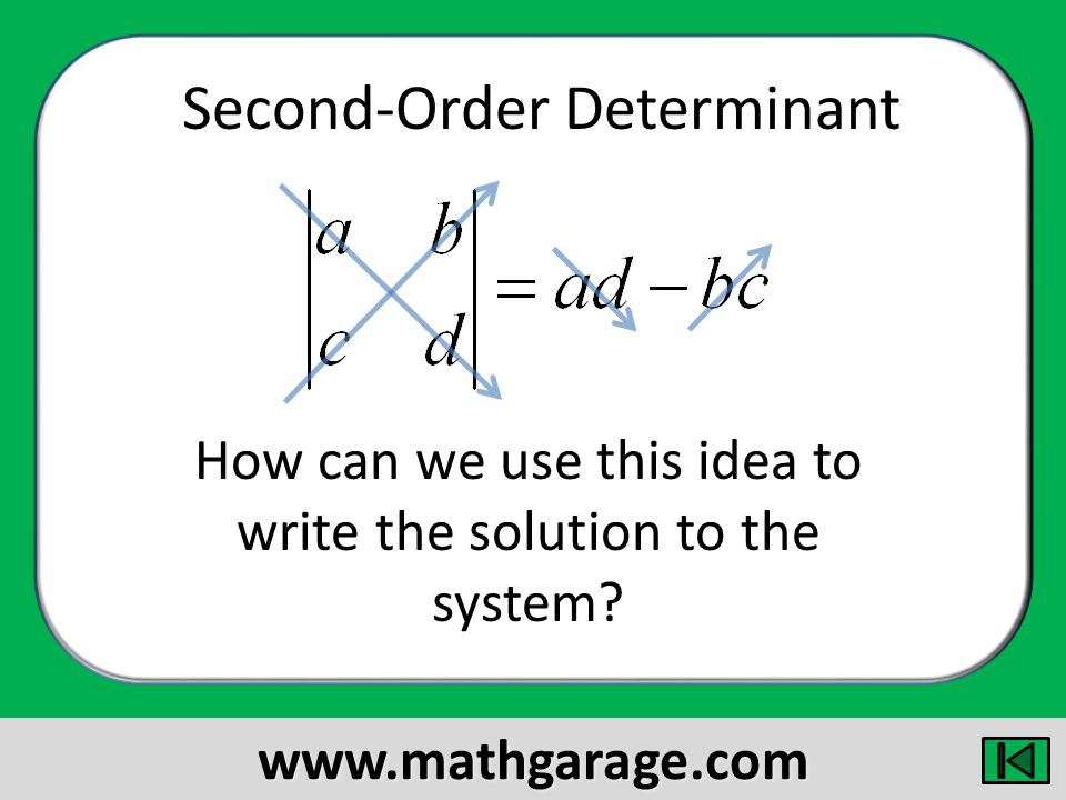 Second-Order Determinant How can we use this idea to write the solution to the system.