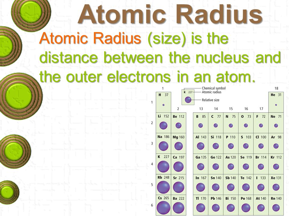 Atomic Radius Atomic Radius (size) is the distance between the nucleus and the outer electrons in an atom.