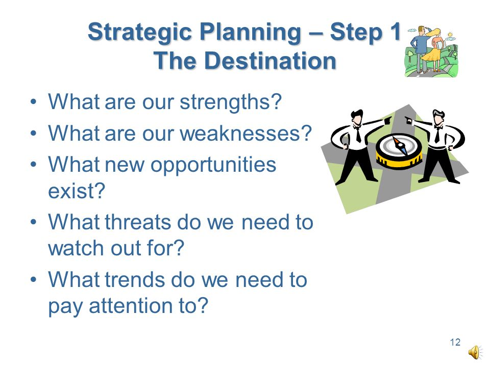 Strategic Planning – Step 1 The Destination What are our strengths.