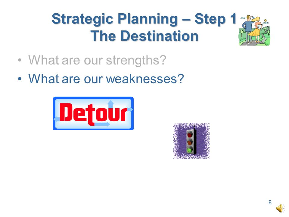 Strategic Planning – Step 1 The Destination What are our strengths? What are our weaknesses? 8