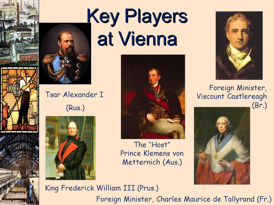 Key Players at Vienna The Host Prince Klemens von Metternich (Aus.) Foreign Minister, Viscount Castlereagh (Br.) Tsar Alexander I (Rus.) King Frederic