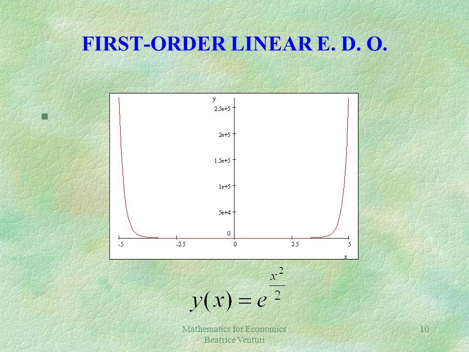 Mathematics for Economics Beatrice Venturi 10 FIRST-ORDER LINEAR E. D. O. §[Plot]