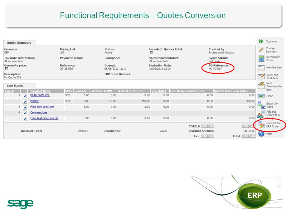 Functional Requirements – Quotes Conversion