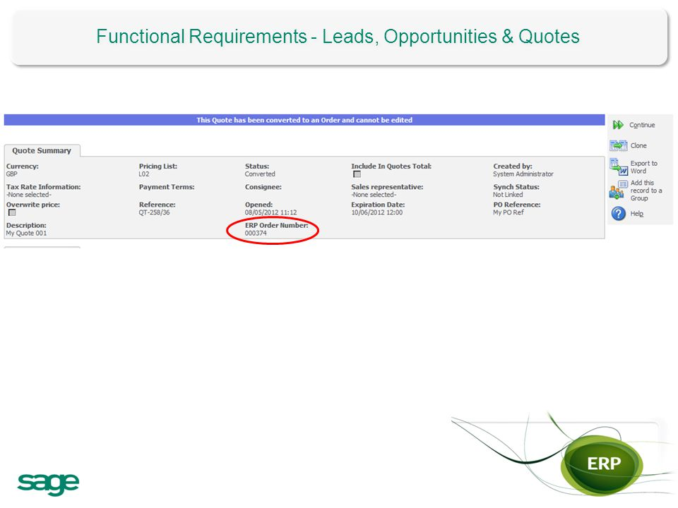 Functional Requirements - Leads, Opportunities & Quotes