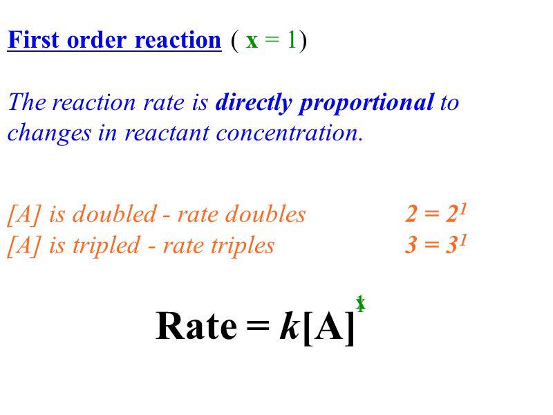 2x2x Rate 2 k [H 2 O 2 ] 2 x [HI] 2 y Rate 1 k [H 2 O 2 ] 1 x [HI] 1 y 0.0152 α 0.1 x 0.2 y 0.0076 0.1 0.1 x = first order 2.0 α 1 ּ [2] y 2.0 α [2] y = 1 2 1 rate = k[H 2 O 2 ] [HI] yx 11