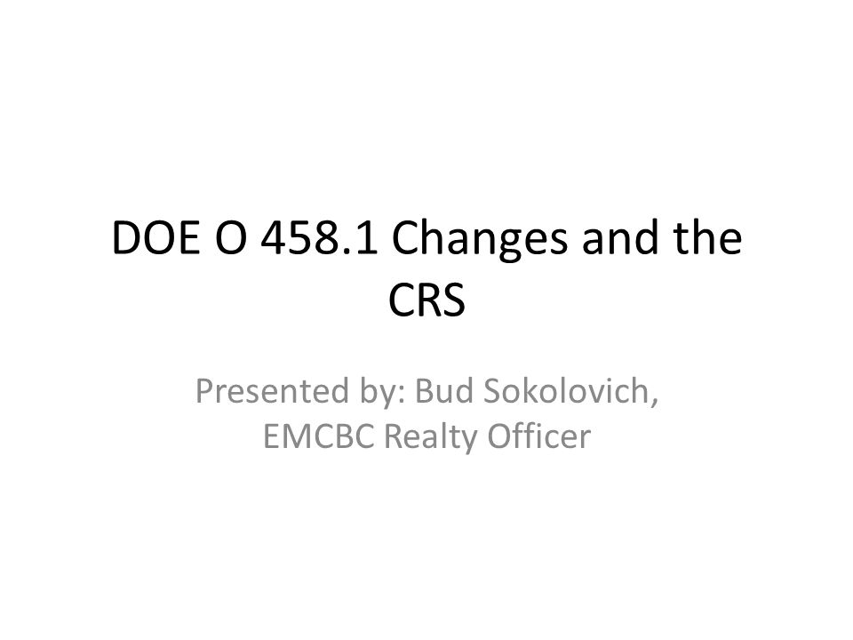 What is DOE O 458.1.