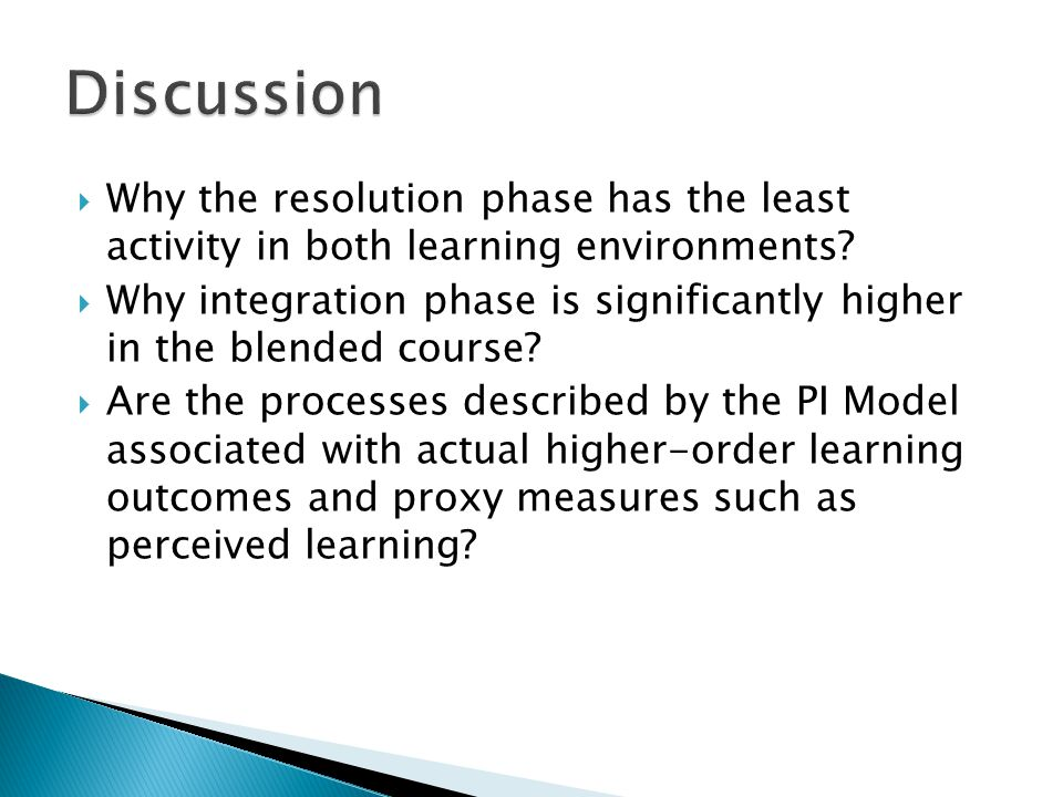 Why the resolution phase has the least activity in both learning environments? Why integration phase is significantly higher in the blended course? Ar