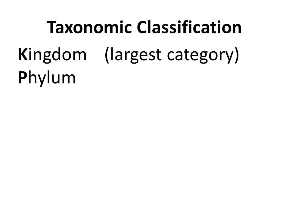 Taxonomic Classification Kingdom(largest category) Phylum