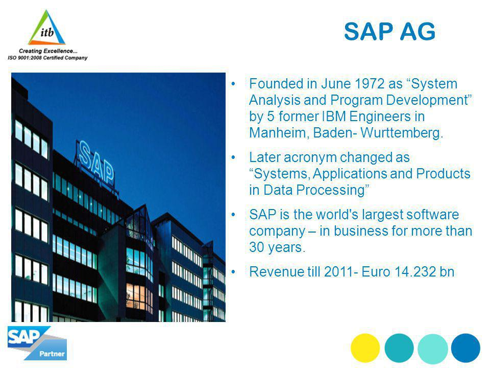 SAP AG Founded in June 1972 as System Analysis and Program Development by 5 former IBM Engineers in Manheim, Baden- Wurttemberg.
