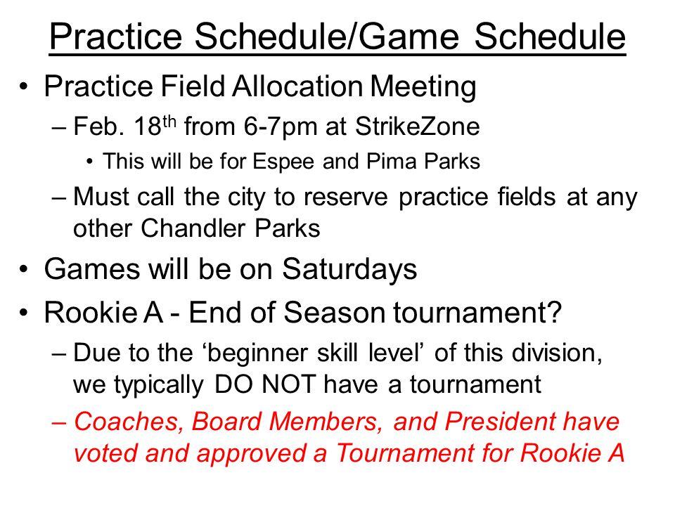 Practice Schedule/Game Schedule Practice Field Allocation Meeting –Feb.