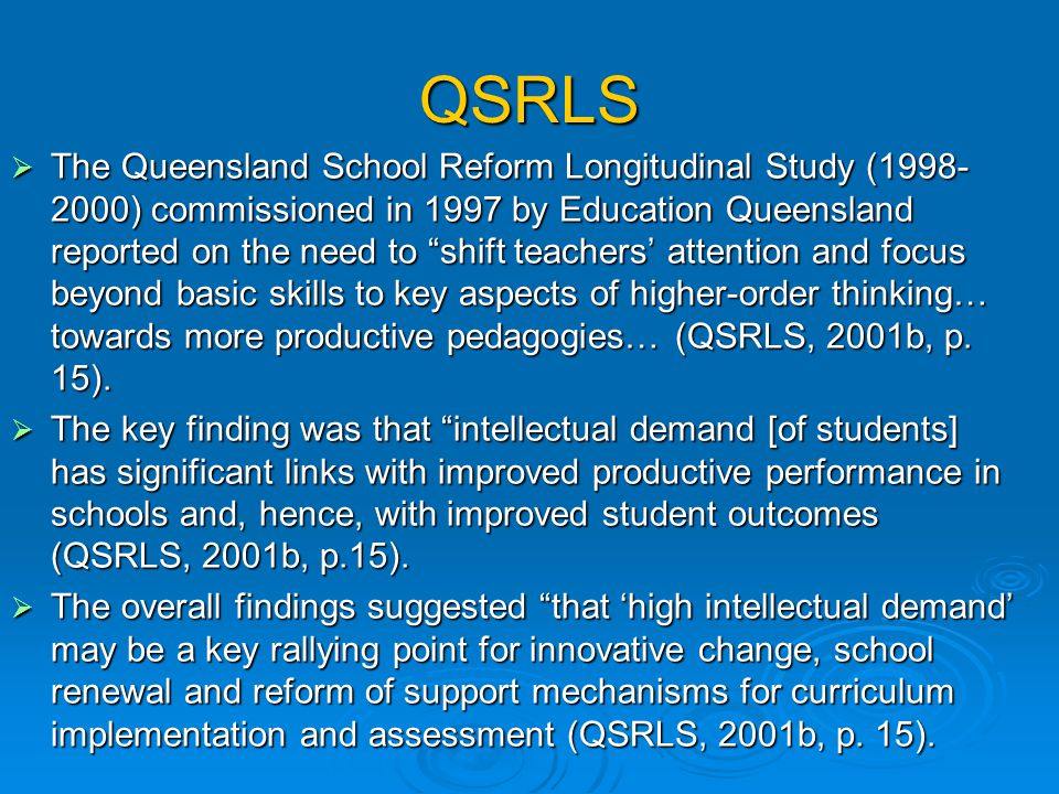 … Newmann and Associates (1996) suggest that when students from all backgrounds are expected to perform work of high intellectual quality, overall stu