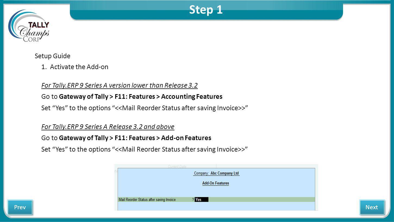 Step 1 Setup Guide 1.