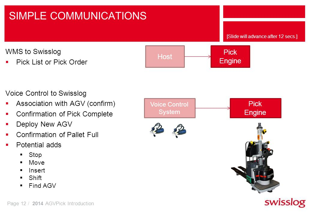Page 12 / 2014 AGVPick Introduction [Slide will advance after 12 secs.] SIMPLE COMMUNICATIONS WMS to Swisslog Pick List or Pick Order Voice Control to Swisslog Association with AGV (confirm) Confirmation of Pick Complete Deploy New AGV Confirmation of Pallet Full Potential adds Stop Move Insert Shift Find AGV Pick Engine Voice Control System Pick Engine Host