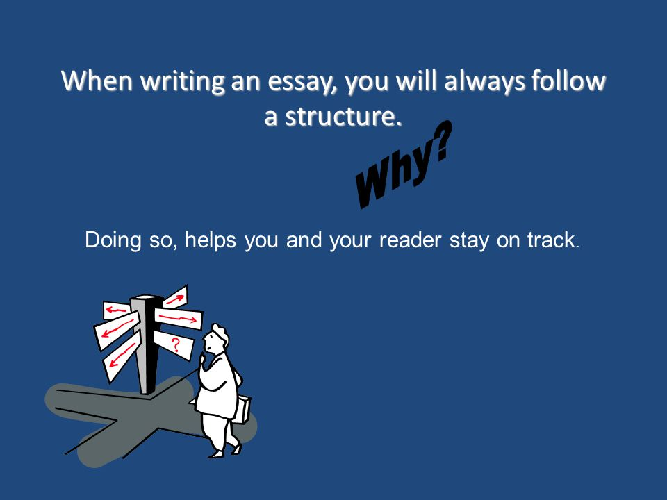 When writing an essay, you will always follow a structure. Doing so, helps you and your reader stay on track.