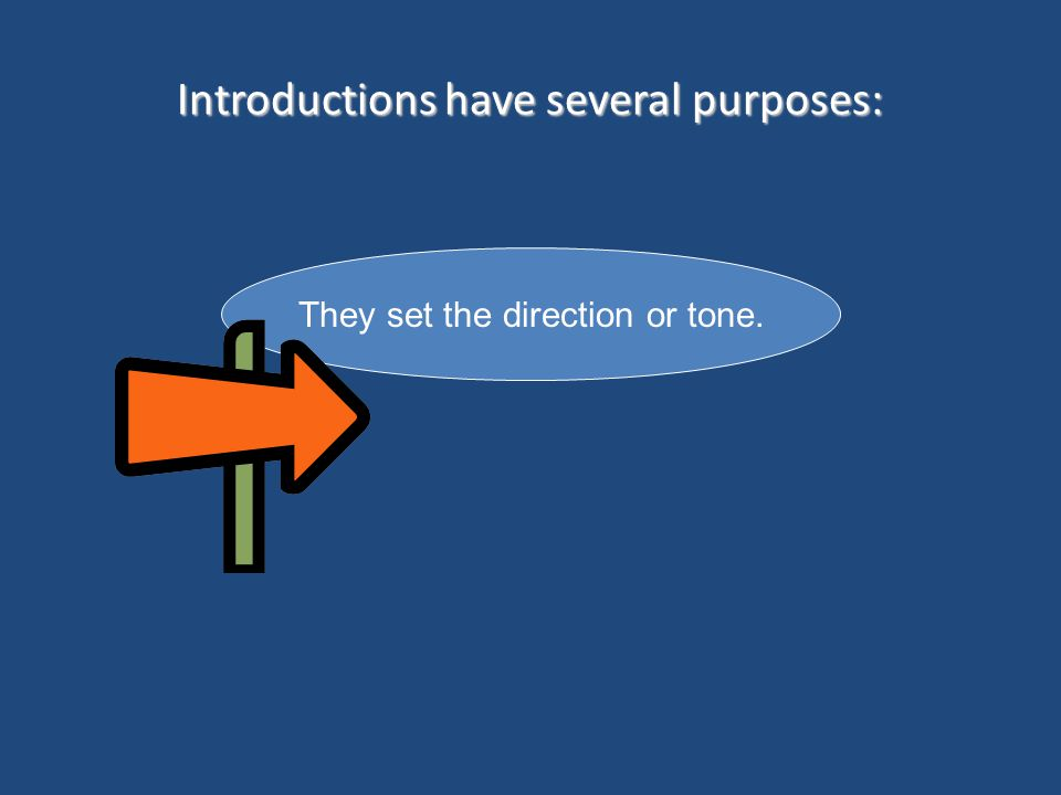 Introductions have several purposes: They set the direction or tone.