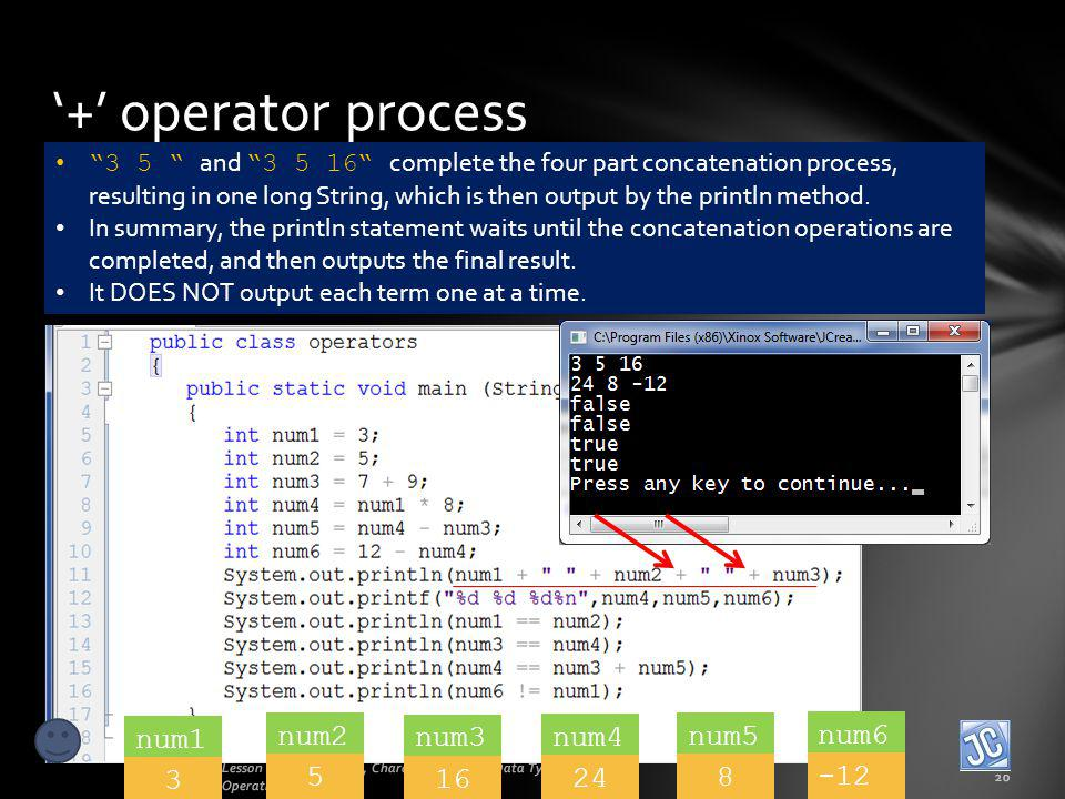 + operator process Lesson 2B - Operations, Characters, Mixing Data Types, Order of Operations 20 3 5 and 3 5 16 complete the four part concatenation p