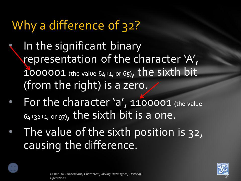Why a difference of 32? Lesson 2B - Operations, Characters, Mixing Data Types, Order of Operations 30 In the significant binary representation of the