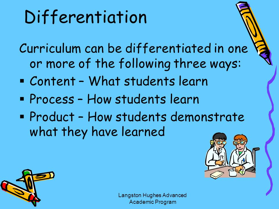 Differentiation Curriculum can be differentiated in one or more of the following three ways: Content – What students learn Process – How students lear
