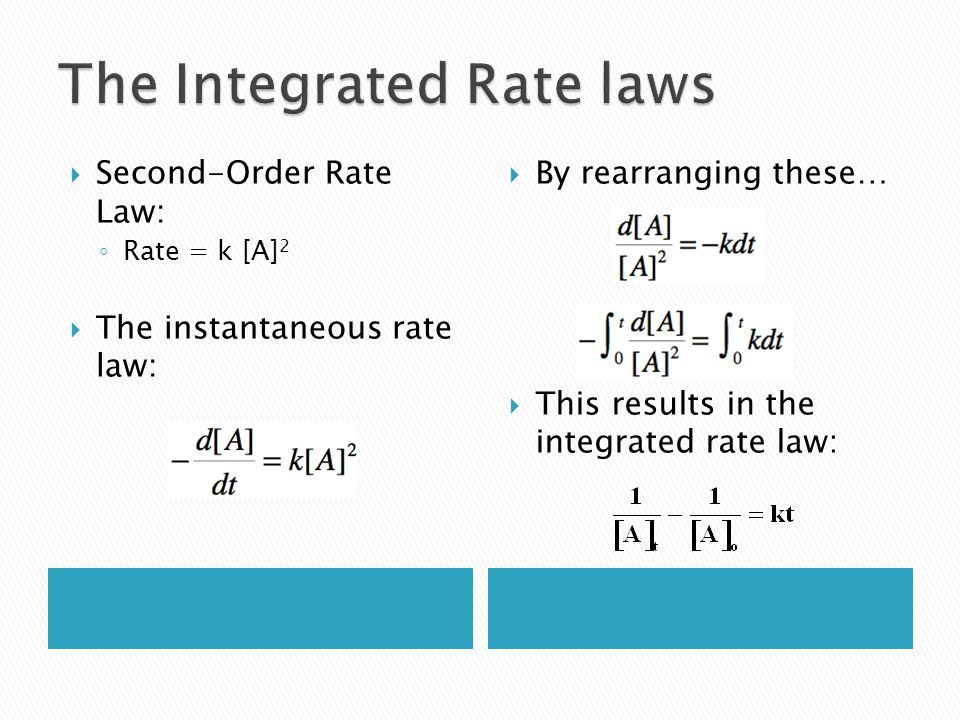 Second-Order Rate Law: Rate = k [A] 2 The instantaneous rate law: By rearranging these… This results in the integrated rate law: