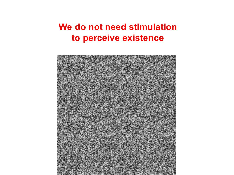 We do not need stimulation to perceive existence