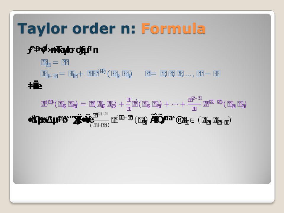 Taylor order n: Formula