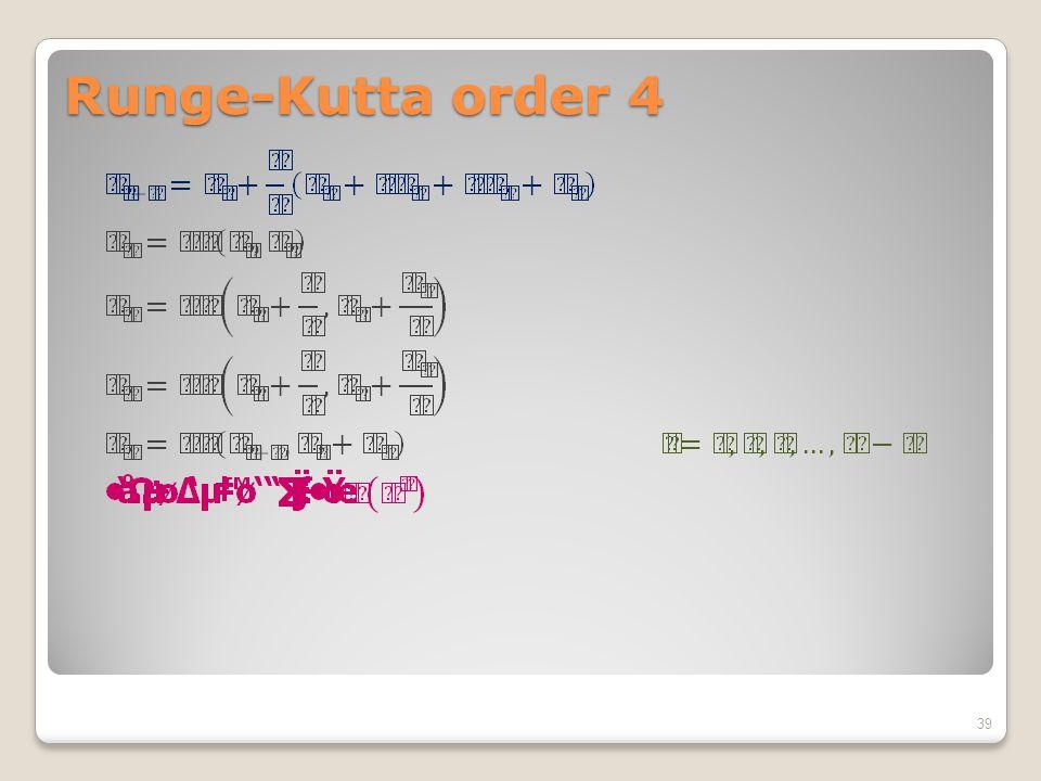 Runge-Kutta order 4 39