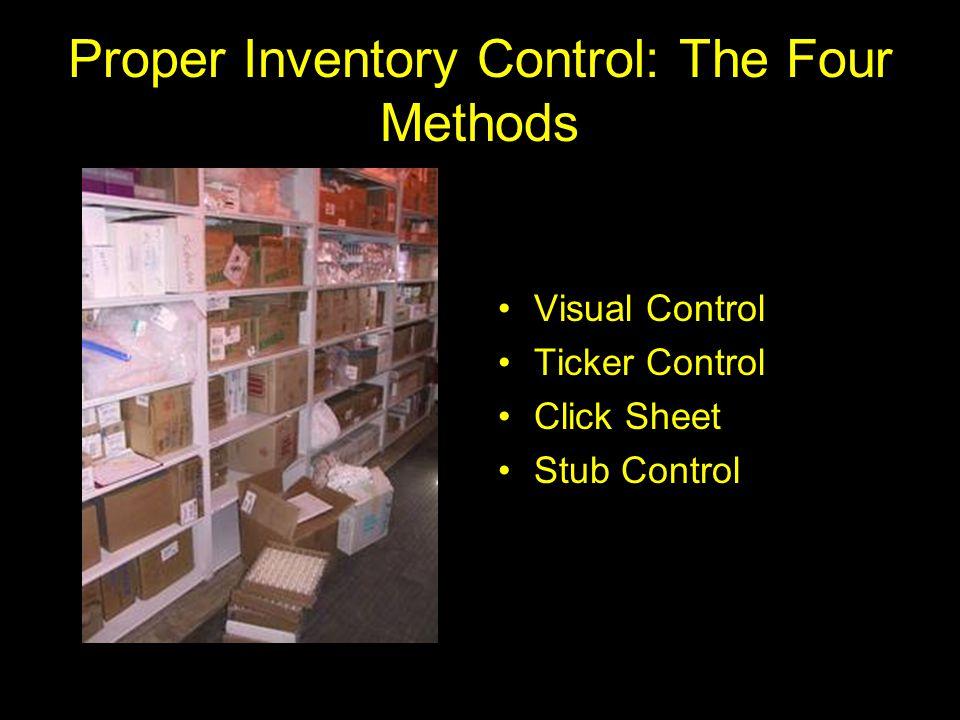 Proper Inventory Control: The Four Methods Visual Control Ticker Control Click Sheet Stub Control