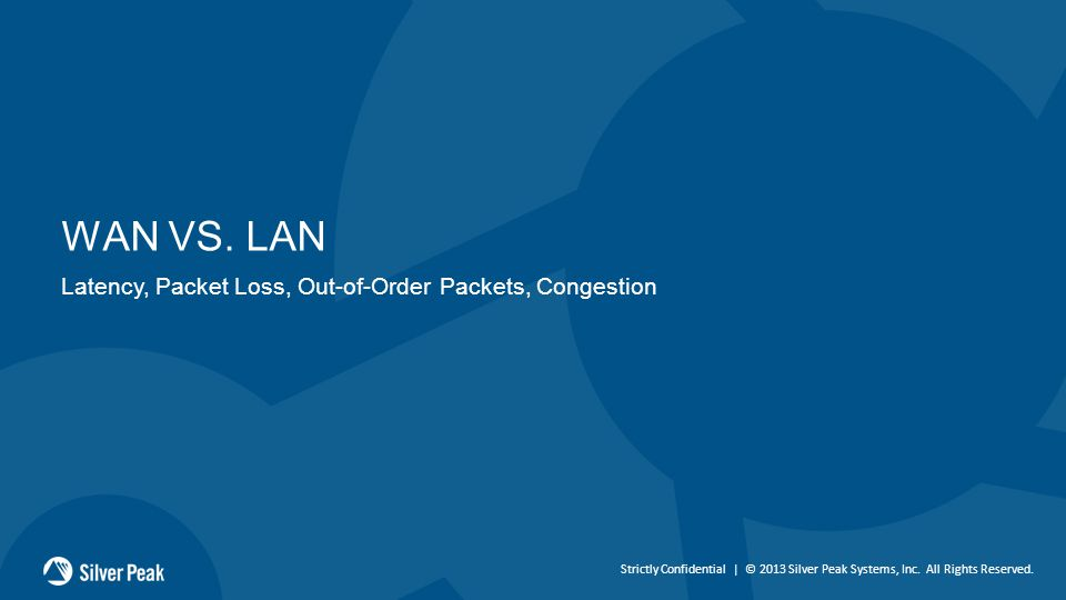 Strictly Confidential | © 2013 Silver Peak Systems, Inc. All Rights Reserved. WAN VS. LAN Latency, Packet Loss, Out-of-Order Packets, Congestion