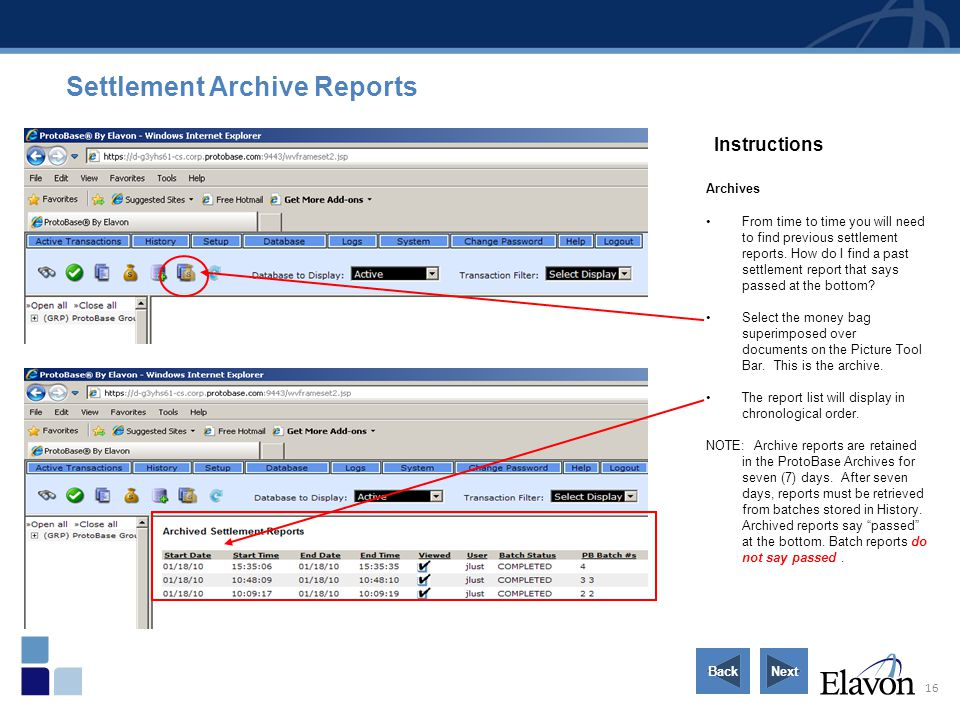 16 Instructions Archives From time to time you will need to find previous settlement reports. How do I find a past settlement report that says passed