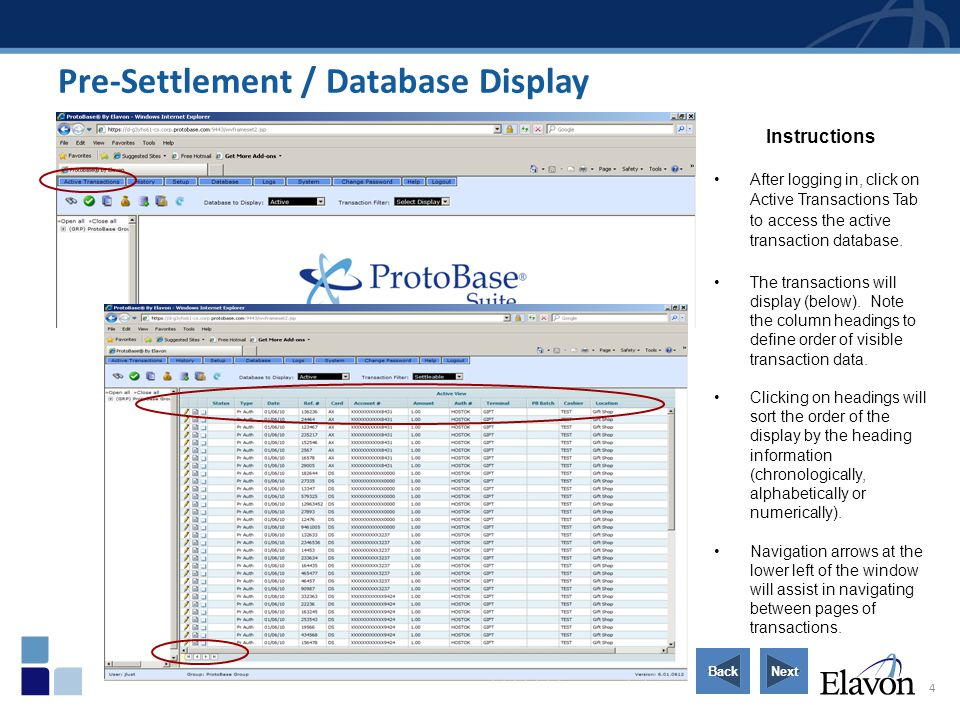 4 Pre-Settlement / Database Display Instructions After logging in, click on Active Transactions Tab to access the active transaction database. The tra