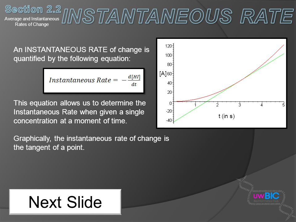 Average and Instantaneous Rates of Change Next Slide An INSTANTANEOUS RATE of change is quantified by the following equation: This equation allows us