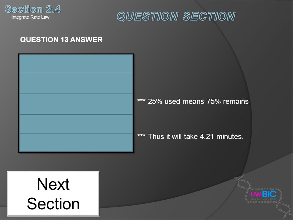 Next Section QUESTION 13 ANSWER *** 25% used means 75% remains *** Thus it will take 4.21 minutes. Integrate Rate Law