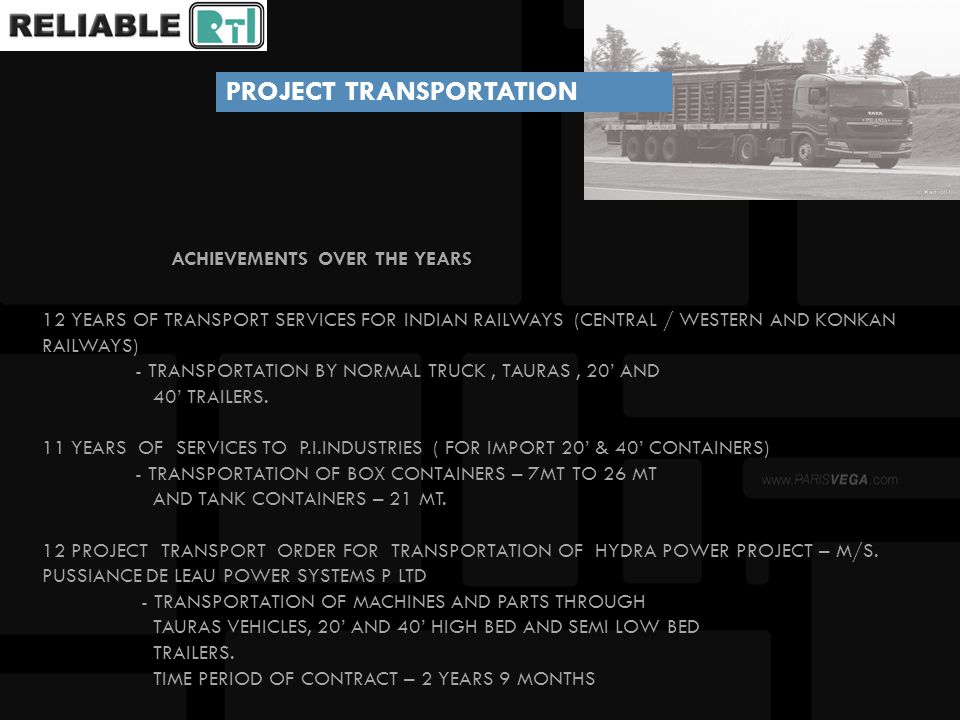 ACHIEVEMENTS OVER THE YEARS ACHIEVEMENTS OVER THE YEARS TRANSPORTATION BY 14 PROJECT TRANSPORT ORDER FROM MUMBAI PORT TO BHIWADI, RAJASTHAN) – FOR HONDA SIEL CAR INDIA LTD, HERO HONDA MOTORCYCLES INDIA LTD, HERO MOTOCORP INDIA LTD.