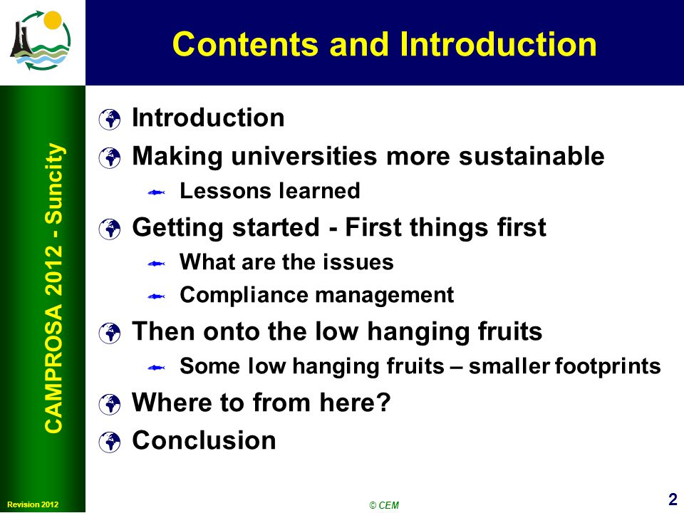 3 CAMPROSA 2012 SunCity What is Meant by Sustainability?