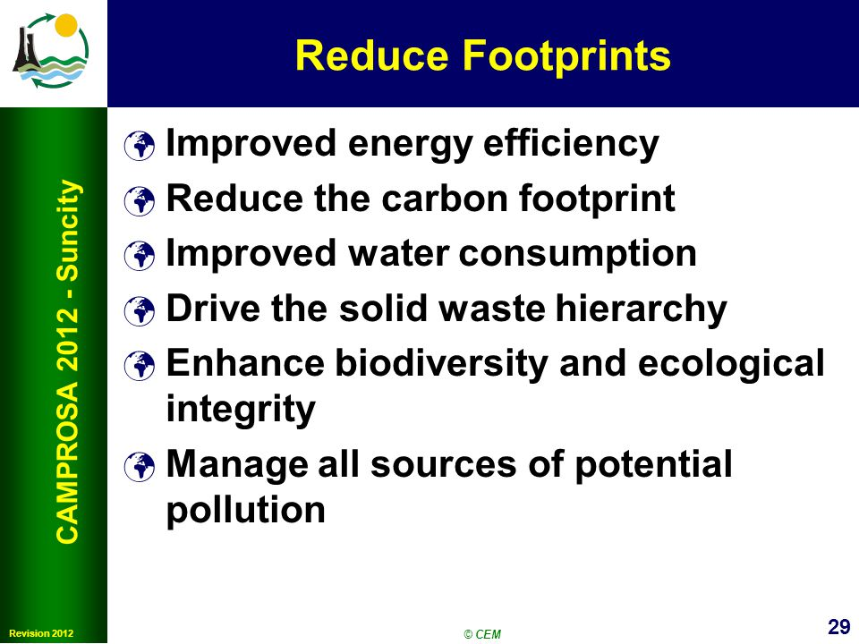 29 Revision 2012 CAMPROSA 2012 - Suncity Reduce Footprints Improved energy efficiency Reduce the carbon footprint Improved water consumption Drive the