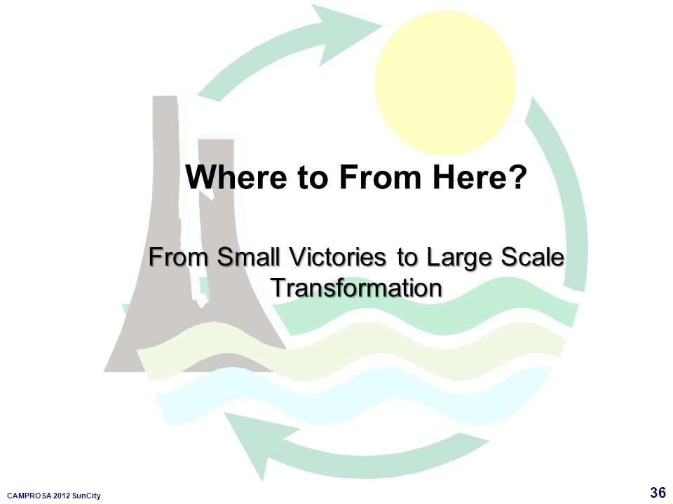 36 CAMPROSA 2012 SunCity Where to From Here? From Small Victories to Large Scale Transformation