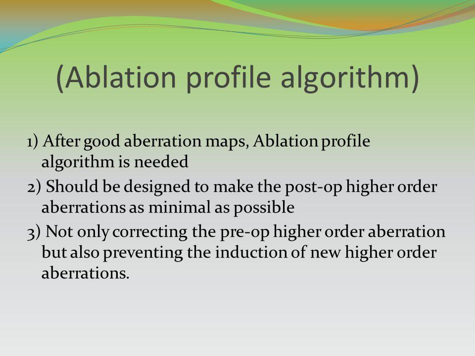 (Ablation profile algorithm) 1) After good aberration maps, Ablation profile algorithm is needed 2) Should be designed to make the post-op higher orde