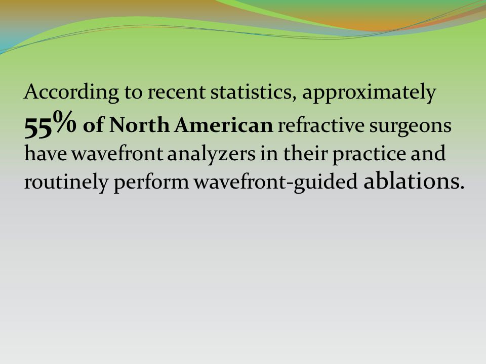 According to recent statistics, approximately 55% of North American refractive surgeons have wavefront analyzers in their practice and routinely perfo