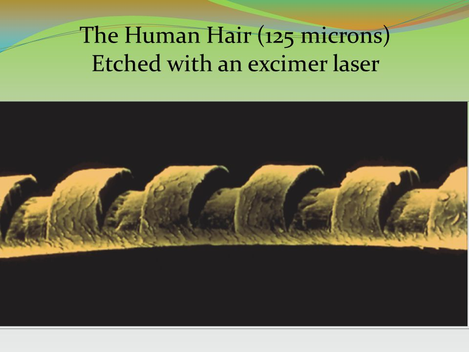 Courtesy of IBM The Human Hair (125 microns) Etched with an excimer laser