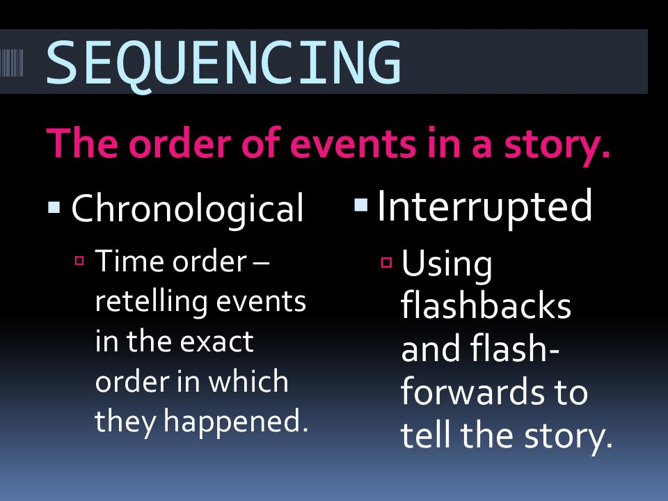 SEQUENCING The order of events in a story. Chronological Time order – retelling events in the exact order in which they happened. Interrupted Using fl