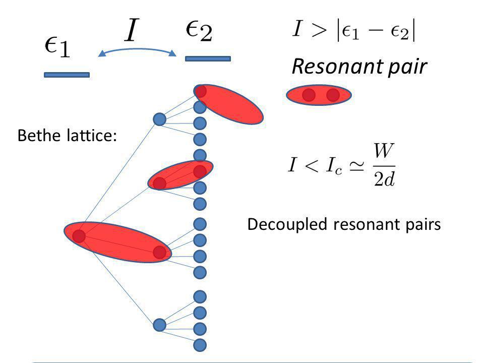 Resonant pair Bethe lattice: INFINITE RESONANT PATH ALWAYS EXISTS Decoupled resonant pairs