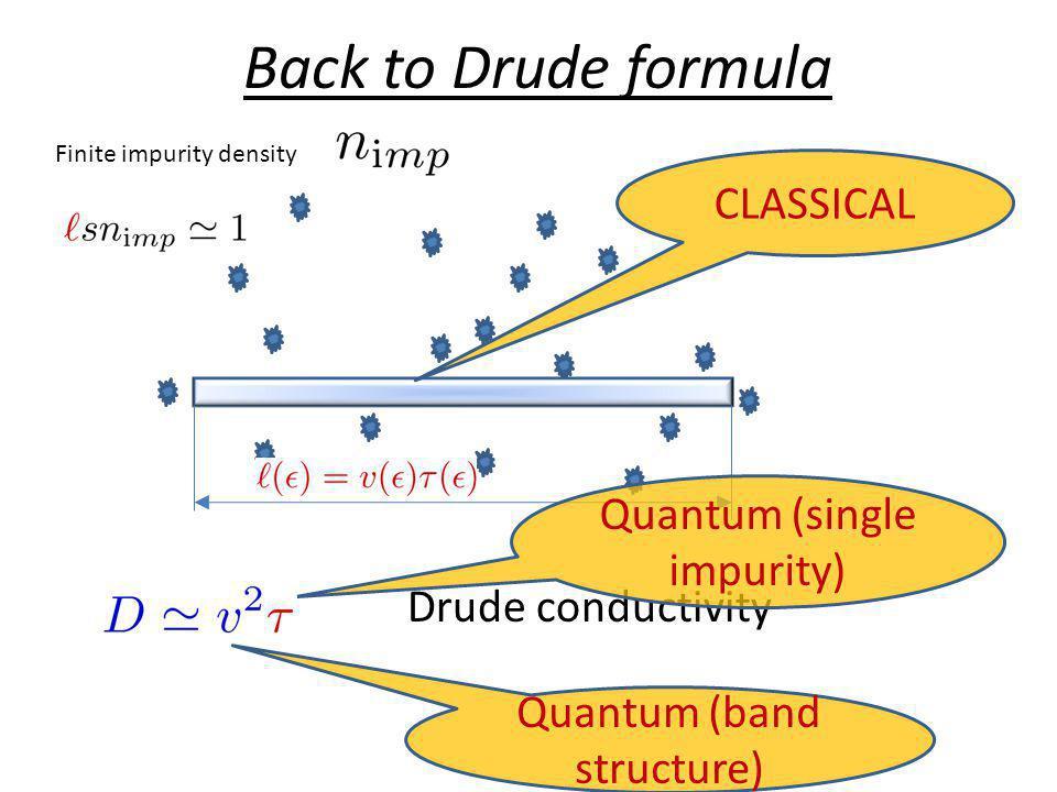 Back to Drude formula Finite impurity density Drude conductivity CLASSICAL Quantum (band structure) Quantum (single impurity)