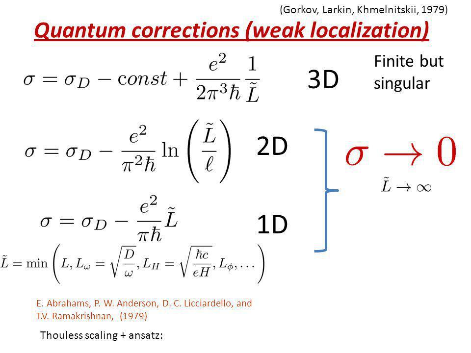 Quantum corrections (weak localization) (Gorkov, Larkin, Khmelnitskii, 1979) 3D 2D 1D Finite but singular E. Abrahams, P. W. Anderson, D. C. Licciarde