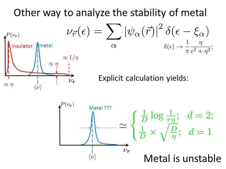 Other way to analyze the stability of metal metal insulator Metal ??? Explicit calculation yields: Metal is unstable