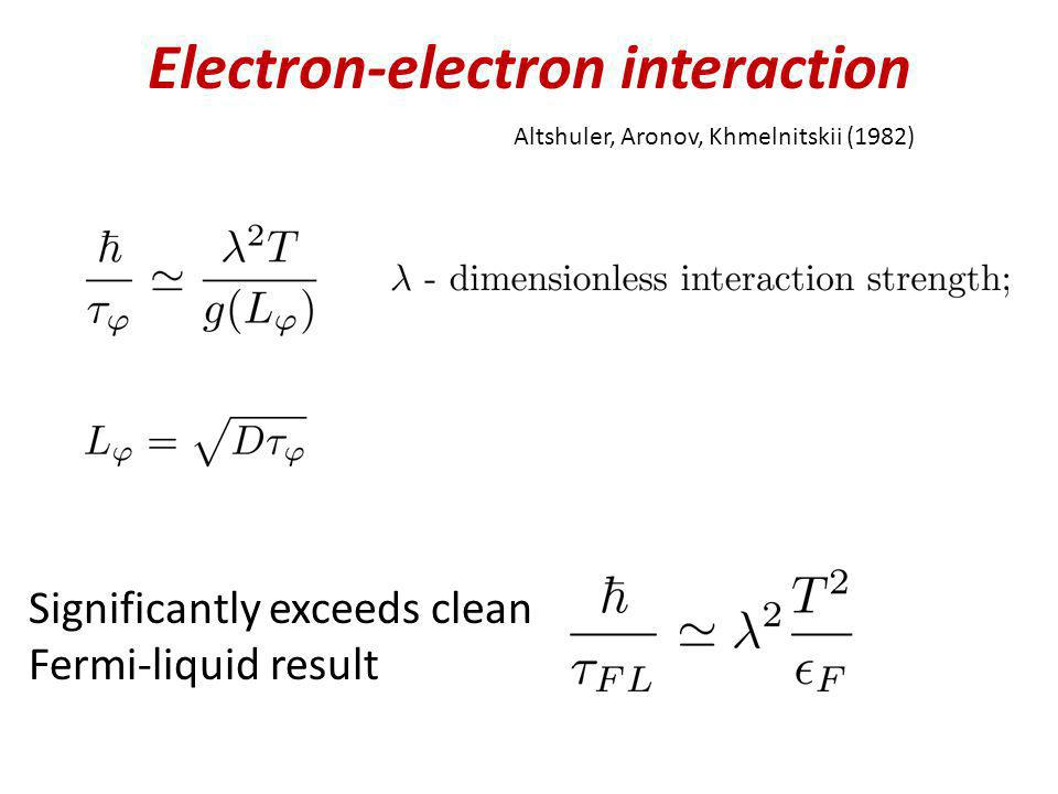 Electron-electron interaction Altshuler, Aronov, Khmelnitskii (1982) Significantly exceeds clean Fermi-liquid result