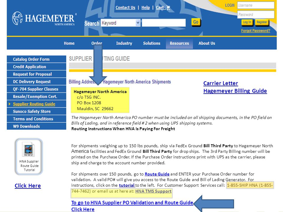 The Hagemeyer North America PO number must be included on all shipping documents, in the PO field on Bills of Lading, and in reference field # 2 when using UPS shipping systems.