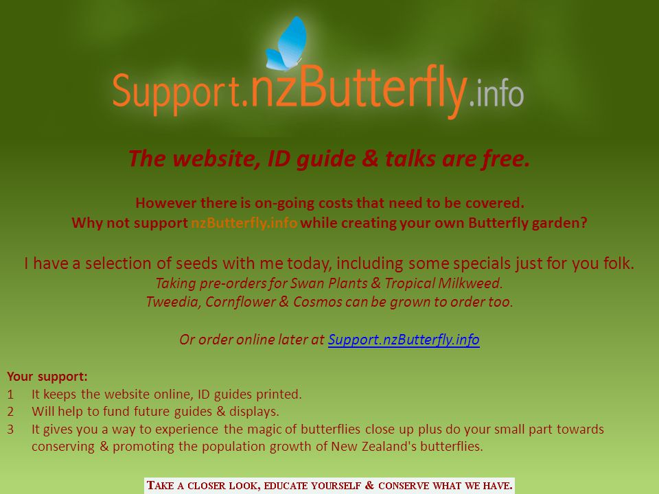 The website, ID guide & talks are free. However there is on-going costs that need to be covered. Why not support nzButterfly.info while creating your